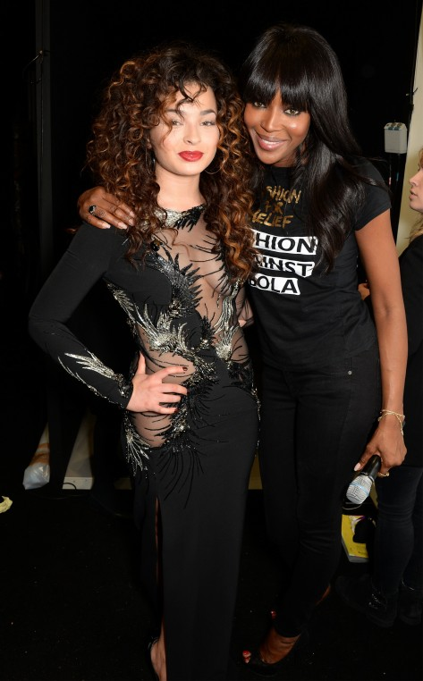 Ella Eyre and Naomi Campbell backstage at the Fashion For Relief charity fashion show to kick off London Fashion Week Fall/Winter 2015/16 at Somerset House on February 19, 2015 in London, England.  The Fashion For Relief show is in support of Ebola, raising funds and awareness for Disaster Emergency Committee: Ebola Crisis Appeal and the Ebola Survival Fund.