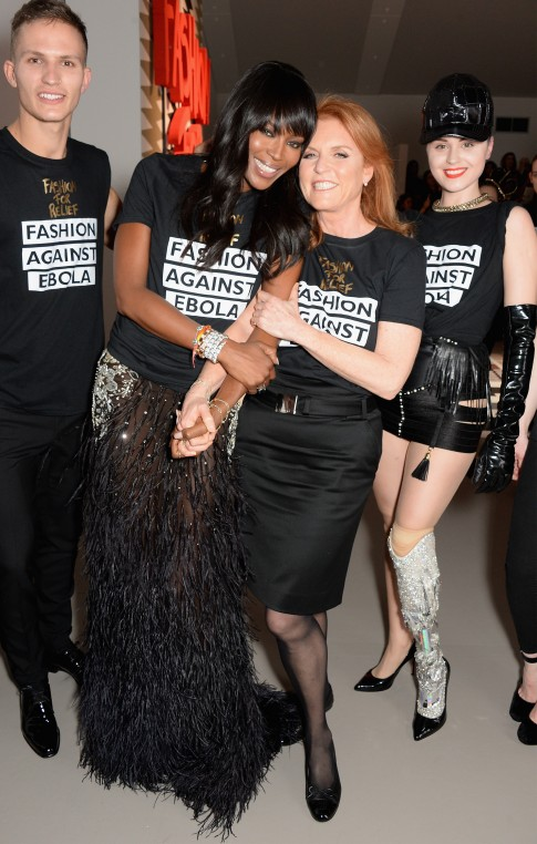Naomi  Campbell and The Duchess of York at the Fashion For Relief charity fashion show to kick off London Fashion Week Fall/Winter 2015/16 at Somerset House on February 19, 2015 in London, England. The Fashion For Relief show is in support of Ebola, raising funds and awareness for Disaster Emergency Committee: Ebola Crisis Appeal and the Ebola Survival Fund.