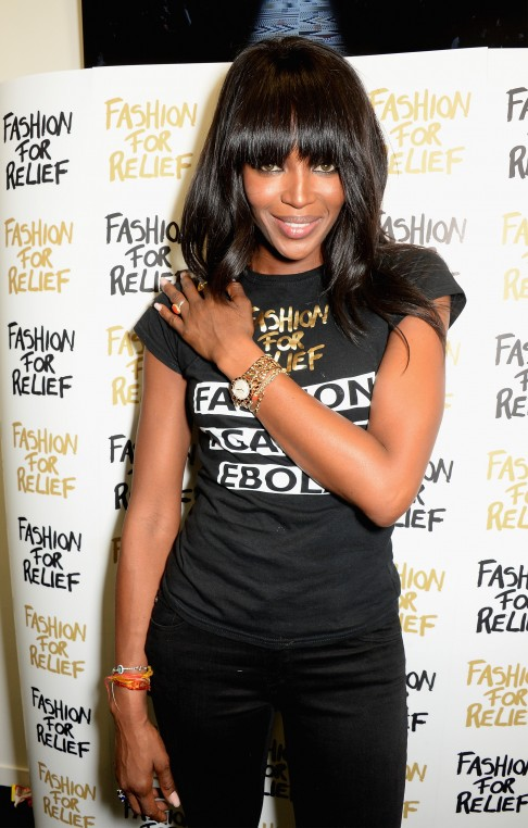 Naomi Campbell wearing Bvlgari at the Fashion For Relief charity fashion show to kick off London Fashion Week Fall/Winter 2015/16 at Somerset House on February 19, 2015 in London, England.  The Fashion For Relief show is in support of Ebola, raising funds and awareness for Disaster Emergency Committee: Ebola Crisis Appeal and the Ebola Survival Fund.